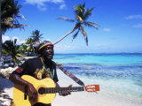 Reggae Singer with Guitar on Beach, Sainte Anne, Guadeloupe Fotografie-Druck von Bill Bachmann