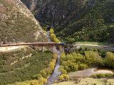 Taieri Gorge Train at Deep Stream Viaduct, Taieri Gorge, near Dunedin, New Zealand Photographic Print by David Wall