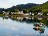 Village of Dornie with Reflections and Boat, Western Highlands, Scotland Fotografie-Druck von Bill Bachmann