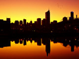 Melbourne CBD and Telstra Dome at Dawn, Victoria, Australia Photographic Print by David Wall