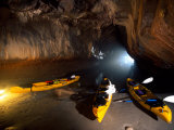 Sea Kayaks, Pink Cathedral Sea Cave, Matanaka Caves, Waikouaiti, Dunedin, New Zealand Photographic Print by David Wall