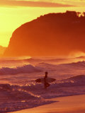 Surfer at Sunset, St Kilda Beach, Dunedin, New Zealand Photographic Print by David Wall