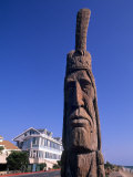 Boardwalk and Totem Pole on the Beach, Ocean City, Maryland, USA Photographic Print by Bill Bachmann