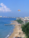 Aerial Parasail at Playa Los Muertos, Puerto Vallarta, Mexico Photographic Print by Bill Bachmann