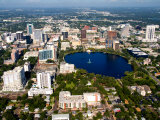 Aerial of Orlando Skyline and Lake Eola, Florida, USA Photographic Print by Bill Bachmann