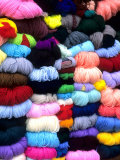 Wool and Fabric Yarn in Town, Cuzco, Peru Photographic Print by Bill Bachmann