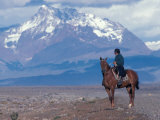 Sheep Herd and Gaucho, Patagonia, Argentina Photographic Print by Art Wolfe