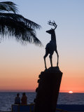Sunset Near the Deer Monument at the Olas Altas, Mazatlan, Mexico Photographic Print by Charles Sleicher