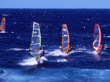 Wind Surfers on the Coast of Maui, Hawaii, USA Photographic Print by Charles Sleicher