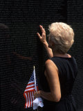Woman at Vietnam Memorial, Washington D.C., USA Photographic Print by Bill Bachmann