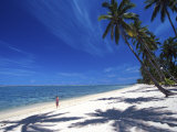 Tambua Sands Resort, Girl on Beach and Coconut Palm Trees, Coral Coast, Melanesia Photographic Print by David Wall