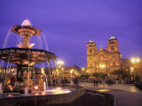 Statues and Fountain, Town Square and Cathedral Basilica, Cuzco, Peru Photographic Print by Bill Bachmann
