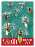 Surf City, Huntington Beach Reproduction procédé giclée