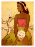 Hawaiian Woman with Flowers Giclee Print by John Kelly
