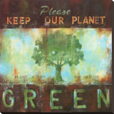 Green Planet Stretched Canvas Print by Wani Pasion