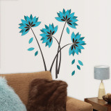 Teal Lotus Flowers Wall Decal