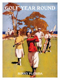 Sunny Florida, Golf Year Round Reproduction procédé giclée