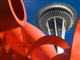 Space Needle with Olympic Iliad Sculpture, Seattle Center, Seattle, Washington, USA Photographic Print by Jamie &amp; Judy Wild