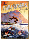Amazing Surfriders of the Pacific Giclee Print