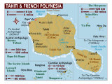 Map of Tahiti and French Polynesia, Pacific, Photographic Print