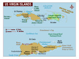 Map of US Virgin Islands, Photographic Print
