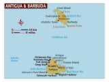 Map of Antigua and Barbuda, Photographic Print