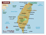 Taiwan Map, North East Asia, Photographic Print