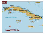 Map of Cuba, Caribbean, Photographic Print