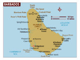 Map of Barbados, Photographic Print