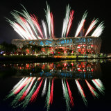 Fireworks over Bird's Nest, 2008 Summer Olympics, Beijing, China Photographic Print