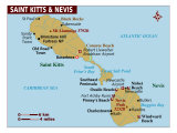 Map of St Kitts & Nevis, Photographic Print