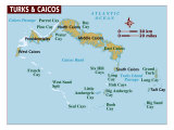 Map of Turks & Caicos Islands, Photographic Print
