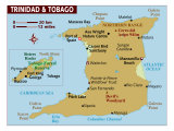 Map of Trinidad and Tobago, Photographic Print
