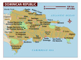 Map of Dominican Republic, Photographic Print