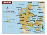 Denmark Map, Photographic Print