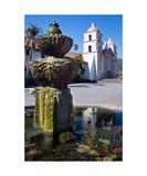 Fountain and Mission Santa Barbara California Photographic Print by George Oze