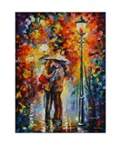 Kiss Under The Rain Lámina giclée por Leonid Afremov
