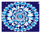 Blue Mandala Fotografie-Druck von Jan Criquelion