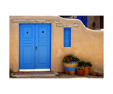 Blue Door And Adobe Wall, Taos, NM Photographic Print by George Oze