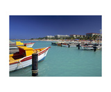 View of Palm Beach from the Fishing Pier Aruba Stampa fotografica di George Oze