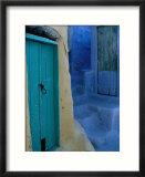 Painted Stepped Alley and Green Wooden Door,Pothia, Kalymnos, Greece Kunstdruck von Jeffrey Becom