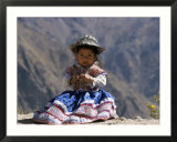 Little Girl in Traditional Dress, Colca Canyon, Peru, South America Póster por Jane Sweeney