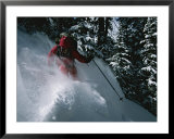 A Skier Skiing Backcountry Powder Posters