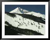 Elevated view of slope at Big Sky Ski Resort Print by Raymond Gehman