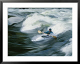 Whitewater kayaker surfing standing wave, Lochsa River, Idaho Prints by Skip Brown