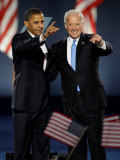 President-Elect Barack Obama and VP Joe Biden after Acceptance Speech, Nov 4, 2008 Photographic Print