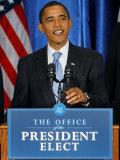 President-Elect Barack Obama Making Opening Statement, Press Conference, Nov 7, 2008 Photographic Print