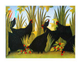 Hens with Strawberries Prints by Genevi&#232;ve Jost