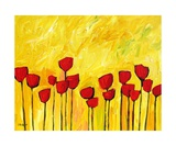 Red Flowers On Yellow Giclee Print by Patty Baker