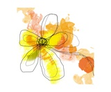 Yellow Liquid Flower Fotoprint van Jan Weiss